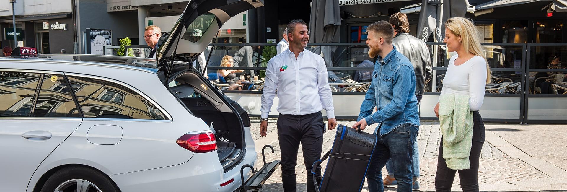 par får stor bagage med i taxaen